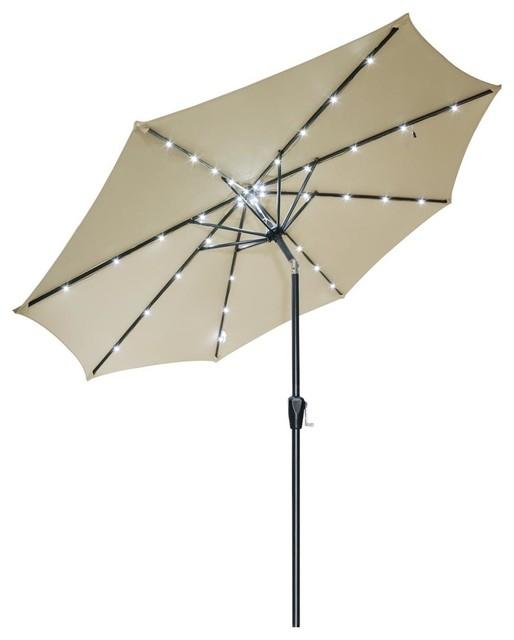 9 39 aluminum patio umbrella with led sunshade gazebo beige