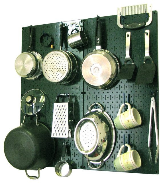 Kitchen Pegboard Organizer Pots And Pans, Green Pegboard And Blue Accessories.
