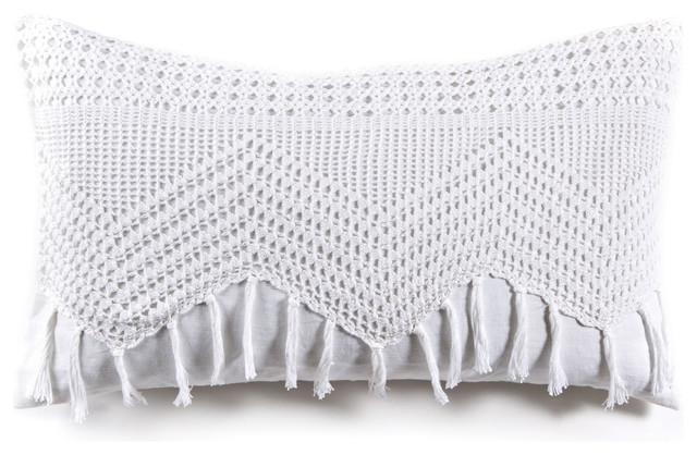 "Vintage Crochet, White, 14""x24"" Pillow."