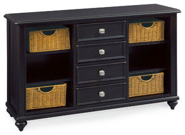 Hammary Camden Dark 4 Drawer Console Table With Baskets In Black Traditional