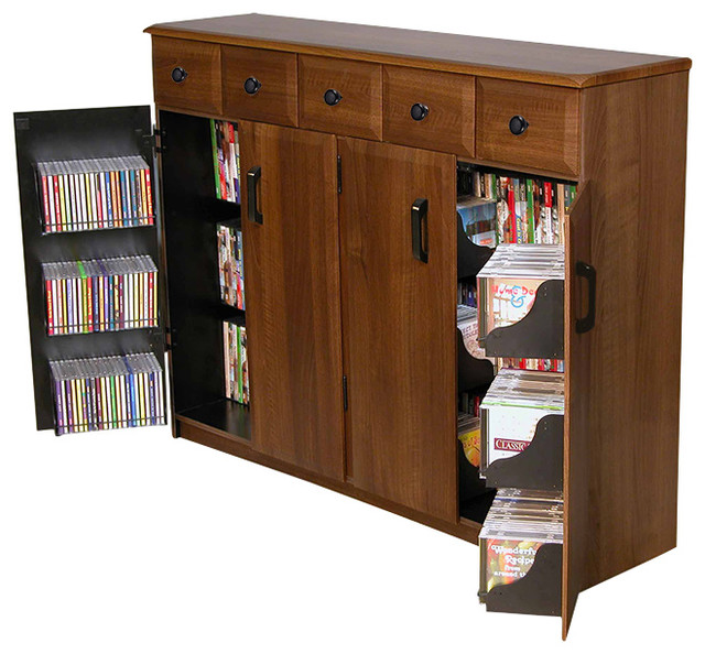 Media Cabinet With Drawers, Walnut.