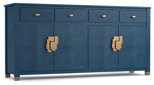 Credenza Contemporary : Executive modern metal wood credenza ambience doré