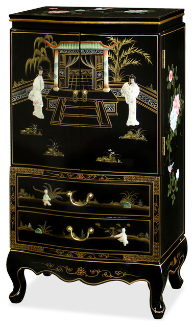 Black Lacquer Jewelry Armoire - Asian - Jewelry Armoires - by China Furniture and Arts