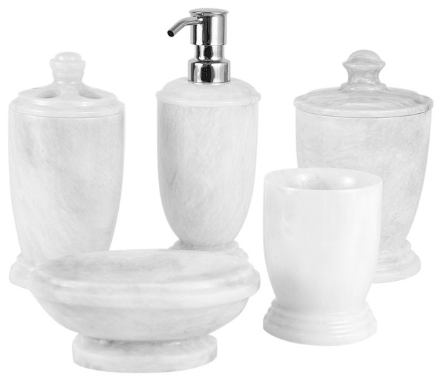himalayan marble 5 piece bathroom set white transitional bathroom accessory sets