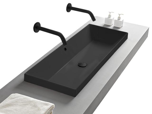 Rectangular Small Matte Black Ceramic Drop In Sink Contemporary Bathroom Sinks By Thebathoutlet Houzz