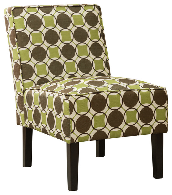 Astounding Green And Brown Upholstered Living Room Armless Accent Chair Alphanode Cool Chair Designs And Ideas Alphanodeonline