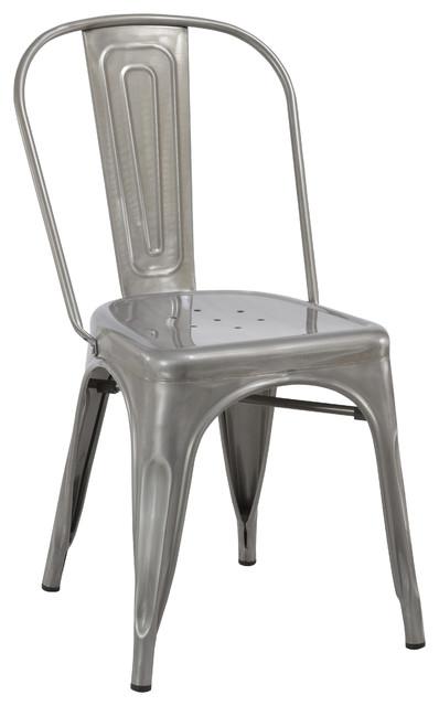 Industrial Vintage Stackable Metal Distressed Dining Bistro Cafe Side Chair.