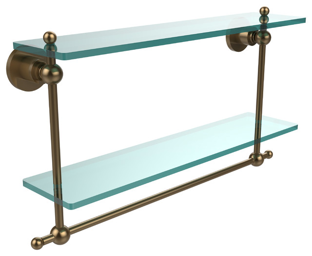 22x5 Glass Shelf With Towel Bar, Brushed Bronze.