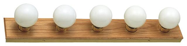 5-Light Vanity Light, Honey Oak