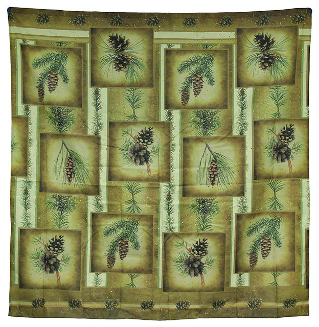 Zeckos Tranquil Pin Rustic Fabric Patchwork Pine Cone