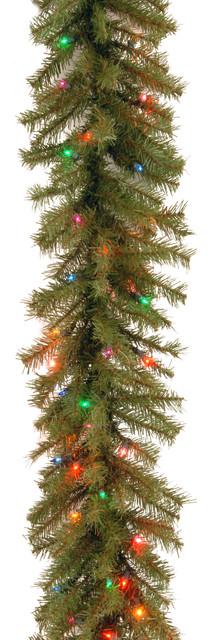 "National Tree Company 9&x27;x12"" Norwood Fir Garland With 100 Multi Lights, Ul."