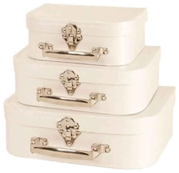 Decorative Luggage Boxes : White Paperboard Decorative Suitcases Set Of