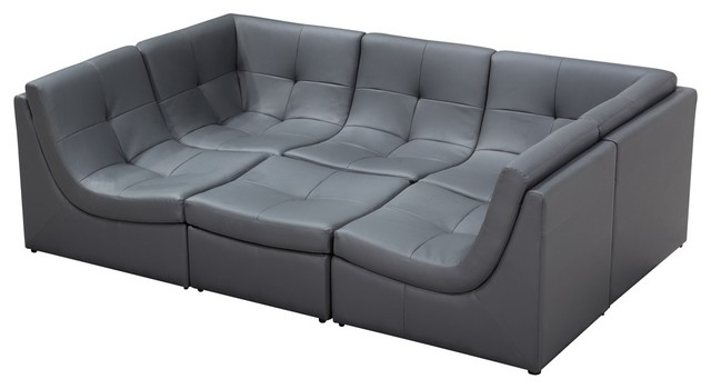 Soflex San Go Modern Grey Faux Leather Sectional Modular Sofa