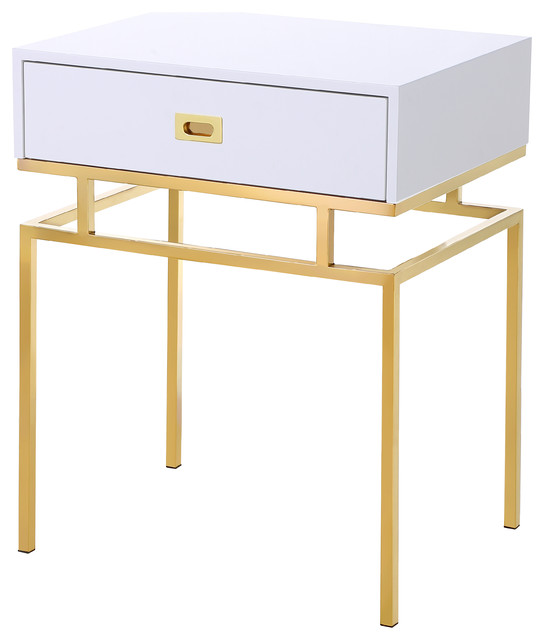 Homecraftdecor White And Gold Nightstand For A Contemporary