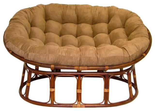 International caravan double papasan with micro suede for Double papasan chair cushion