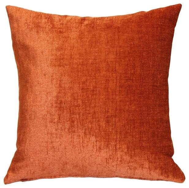 Pillow Decor, Venetian Velvet Earthen Orange Throw Pillow 20x20.