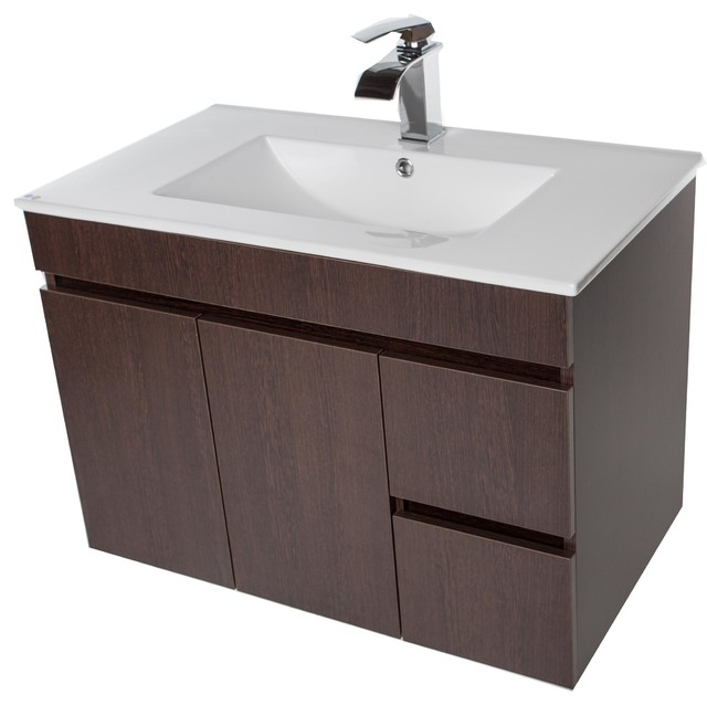 Strato Wall Mounted Bathroom Vanity Cabinet Set With Single Sink Modern Bathroom Vanities And Sink Consoles By Agm Home Store