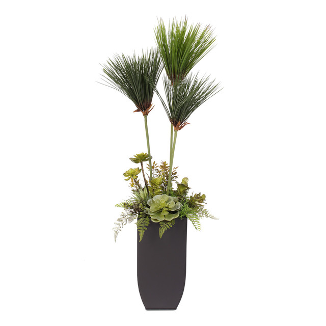 Mini Umbrella Plant Tree With Succulents In A Tall Metal Container  Contemporary Artificial Plants