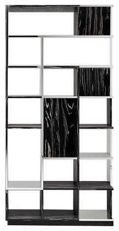 Horm Sudoku Bookcase, Black And White Mdf And Aluminum.