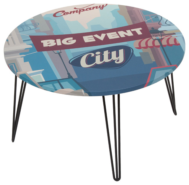 Eclectic Coffee Tables: Round Vintage Slogan Coffee Table