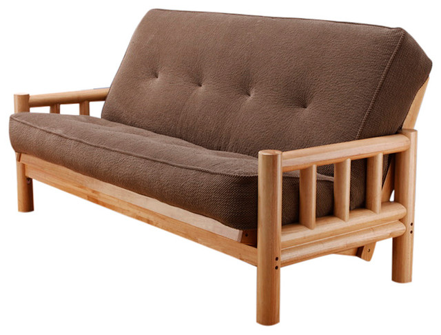 Lodge Frame Futon With Natural Finish, Marmont Mocha Rustic Futons