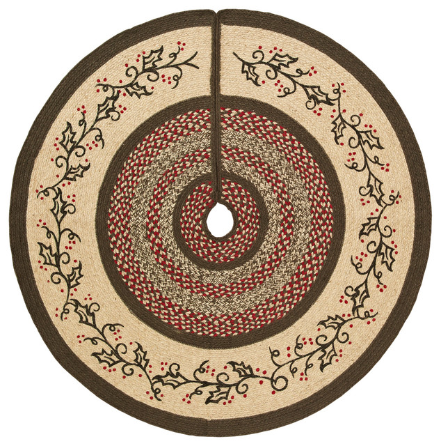 holly berry jute stencil tree skirt 48 rustic christmas tree skirts - Rustic Christmas Tree Skirt