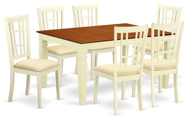 7-Piece Kitchen Table Set With a Dining Table and 6 Chairs, Buttermilk,  Cherry