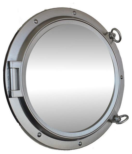 Porthole Mirror, Silver Finish, 24&x27;&x27;.