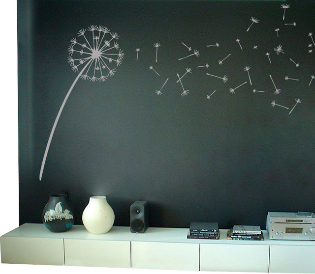 Dandelion blowing in the wind wall decal contemporary wall decals by dali decals - Decorative wall sticker ...