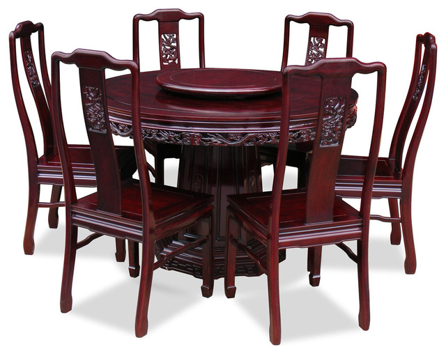 48 rosewood dragon design round dining table with 6 for Dining table set for 6