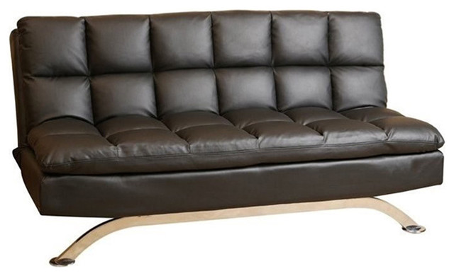 Abbyson Living Vienna Leather Euro Lounger Sofa, Black - Sofas - by ...