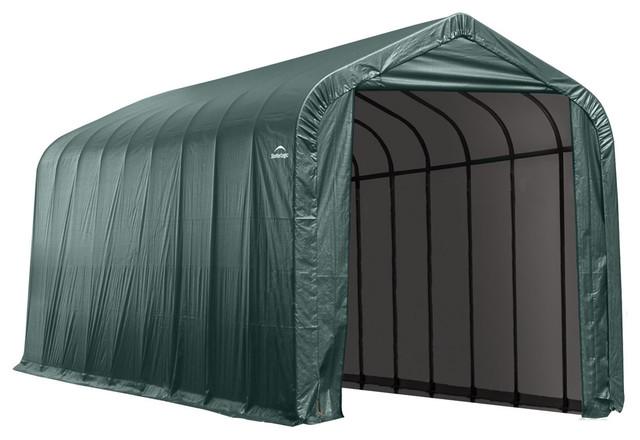 Shelter Logic Outdoor Sheltercoat Garage 16&x27;x40&x27;x16&x27;, Peak Standard, Green.