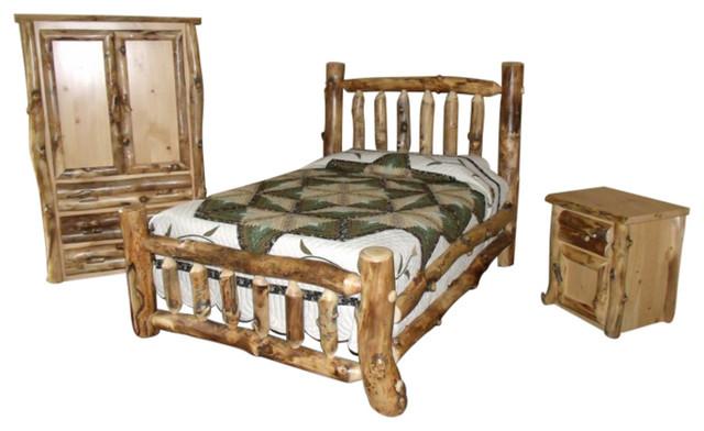 3piece rustic aspen log king bedroom set