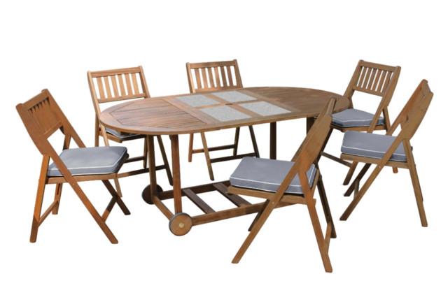 7 piece fold and store eucalyptus dining set with granite - Outdoor interiors 7 piece patio set ...