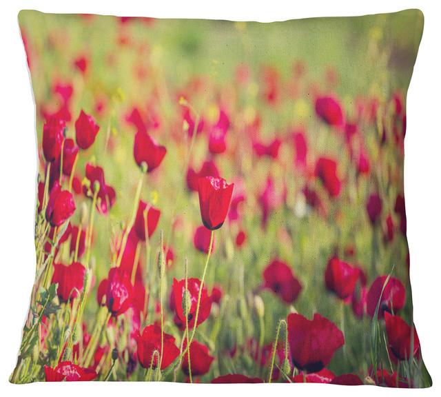 Beautiful Poppy Flowers Background Flower Throw Pillow Contemporary Decorative Pillows By Designart