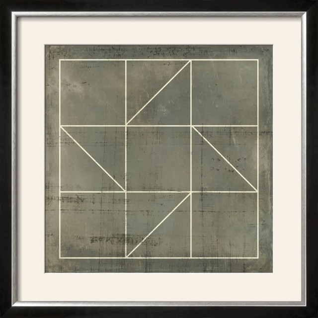 """""""Geometric Blueprint IV"""" Wall Art, 28""""x28""""x1"""" - Contemporary - Prints And Posters - by Artcom"""