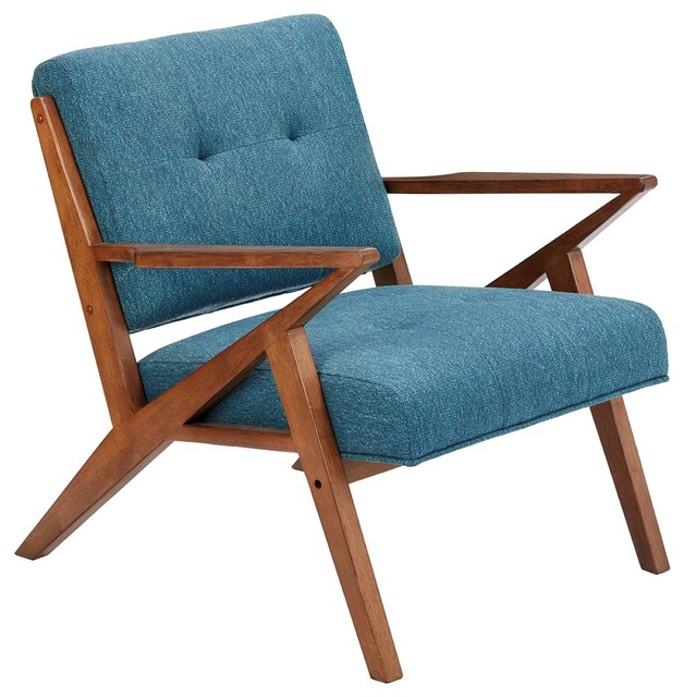 Sleek Pecan Finish With Blue Upholstery Rocket Chair   Midcentury    Armchairs And Accent Chairs   By D. Tate Interiors/Artistic Finds, LLC
