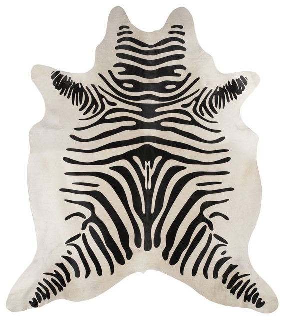 Beautiful Black And Cream Brazilian Zebra Striped Hair On Cowhide Rug  Contemporary Novelty Rugs