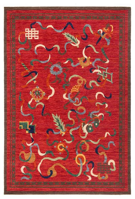 8 Auspicious Symbols Tibetan Rug 2 X3 Asian Area