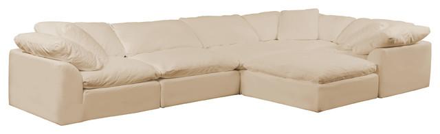 Puff X Divani.Cloud Puff 6 Piece Slipcovered L Shaped Sofa With Ottoman Performance Tan