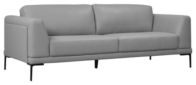 Kerman Full Top Grain Leather Contemporary Sofa, Light Gray