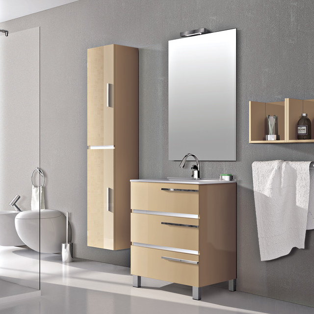 Eviva Olivia 24 Beige Free Standing Bathroom Vanity With White Porcelain Sink Modern Bathroom Vanities And Sink Consoles By Decors R Us Houzz