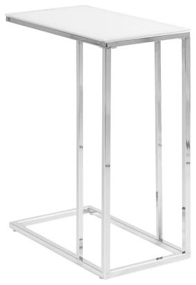 """Monarch Specialties I 3000 10""""w Particle Board Top Metal Accent Table, Chrome."""