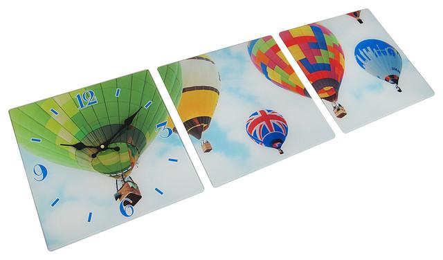 3 Panel Glass Wall Clock Hot Air Balloon Design Contemporary