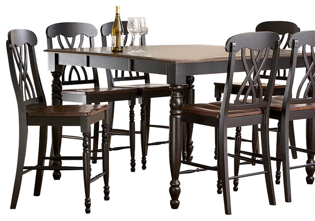 Homelegance Ohana 8 Piece Counter Height Dining Room Set In Black Cherry