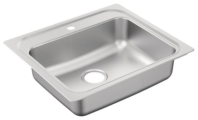 "Moen G201961BQ 2000 Series 25"" Drop In Single Basin Stainless Steel Kitchen Sin"