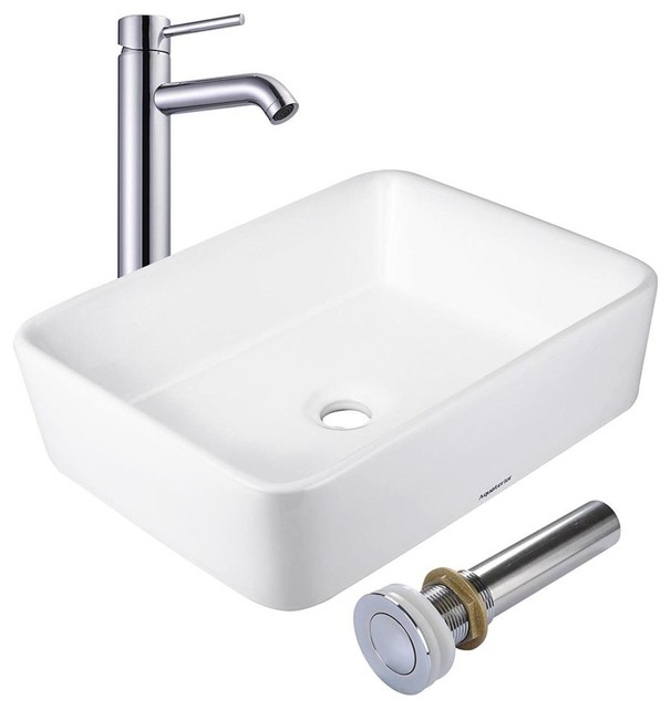 "Aquaterior 19""x15"" Rectangle Porcelain Ceramic Vessel Sink With Drain and Faucet"