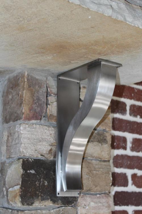 Stainless steel bar brackets modern shelf bracket for Modern corbels for granite countertops