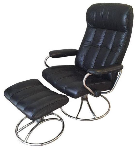 vintage ekornes stressless black leather recliner contemporary