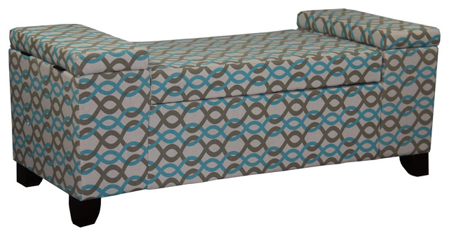 """18.25"""" Tall Storage Seating Bench, Chain Link Print. -1"""